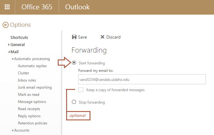 "Screenshot of the Forwarding option open with the ""Start forwarding"" bubble selected."