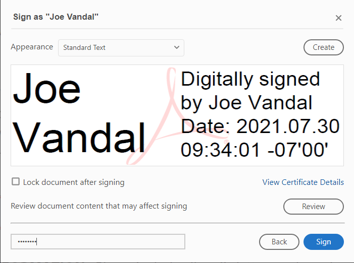 Review the signature