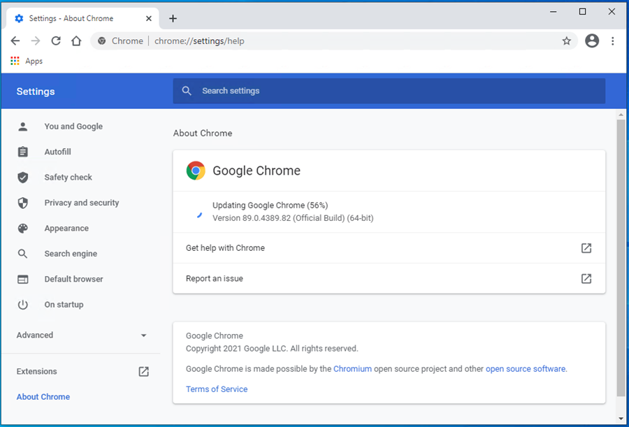 Chrome checking for and downloading updates