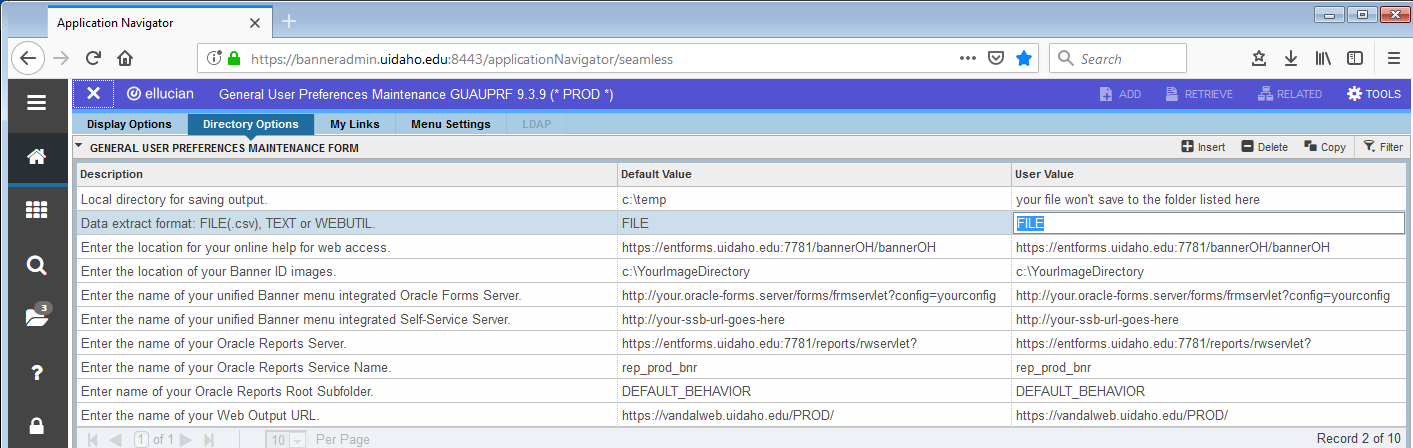 GUAUPRF, Directory Options, Data Extract Format = FILE