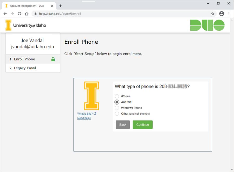Screenshot of phone type selection screen.