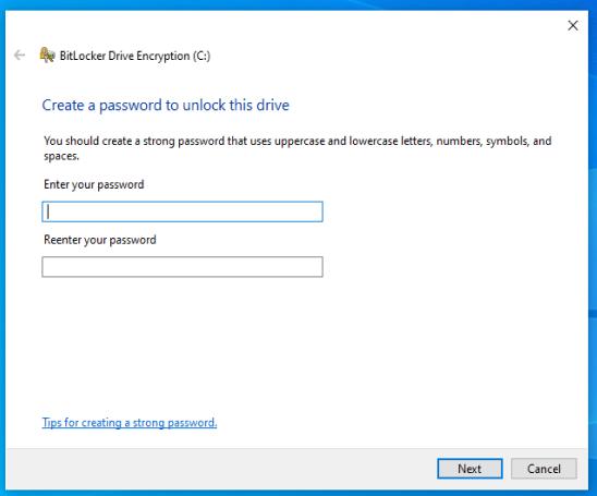 Set Bitlocker decryption password