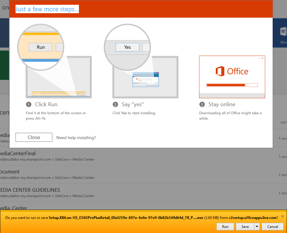 Run the setup for Office 365
