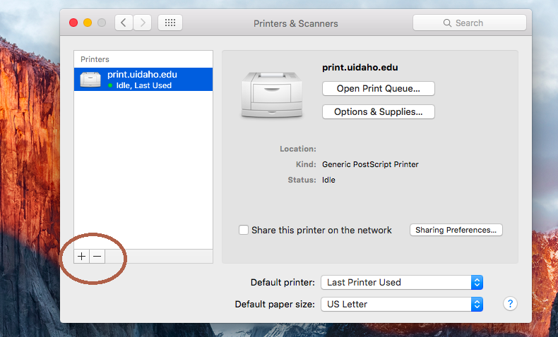 Click the + button to add a new printer