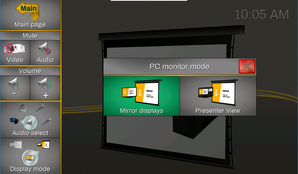 "Screenshot of the touch panel displaying the ""PC monitor mode"" window."