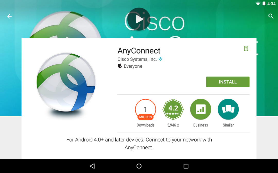 Install and open the AnyConnect app