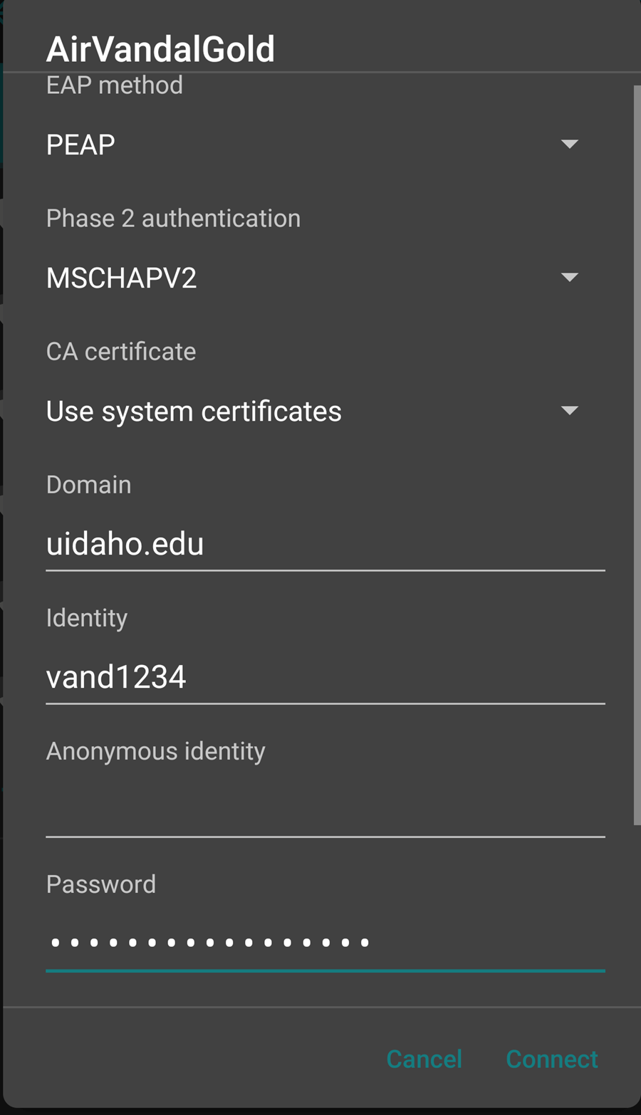 EAP method=PEAP, Phase 2 auth=MSCHAPV2, CA Certificate=use system certificates, domain=uidaho.edu, identity=netid, password=your netid password