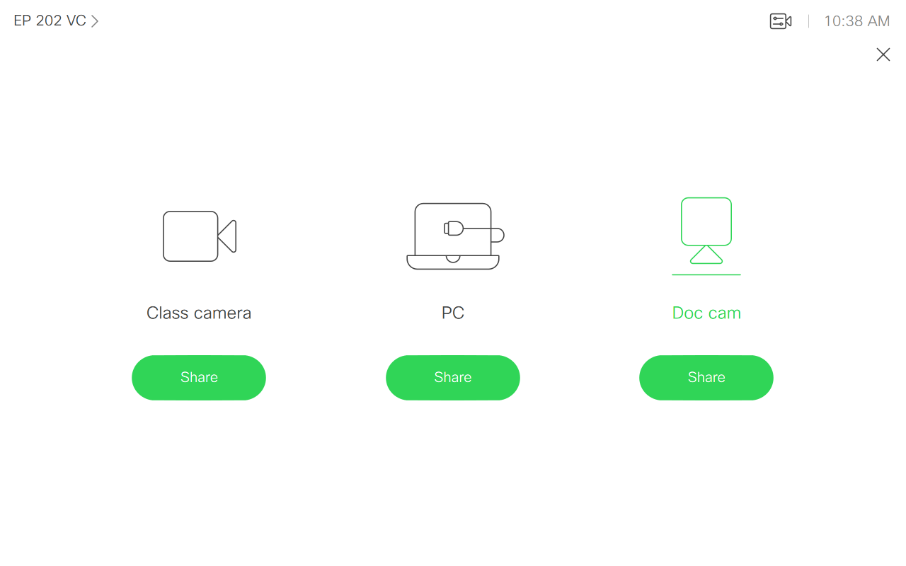 Image of the touch pad source options for displaying on monitors.
