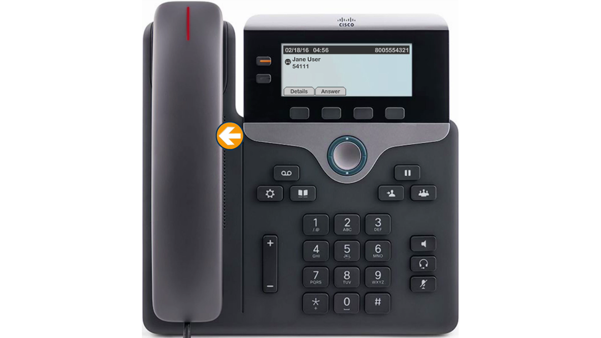Image of the phone pointing to the handset.