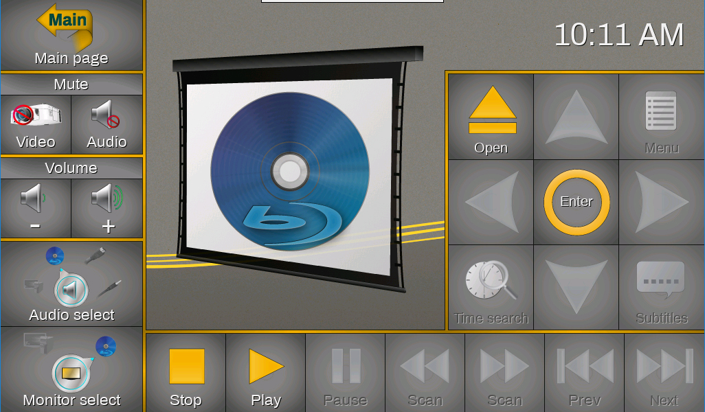 Screenshot of the touch screen's blu-ray control page.