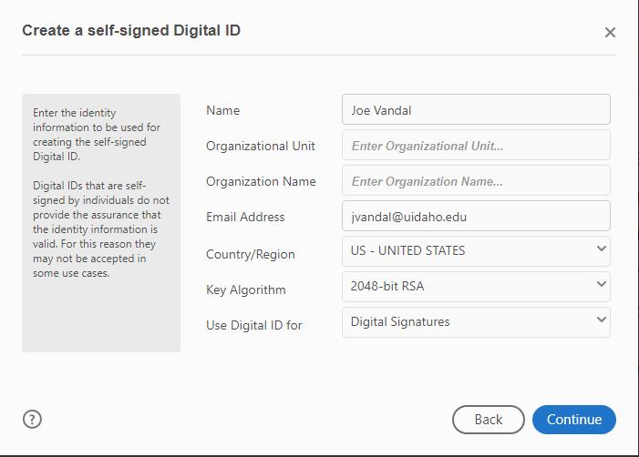 Digital ID information