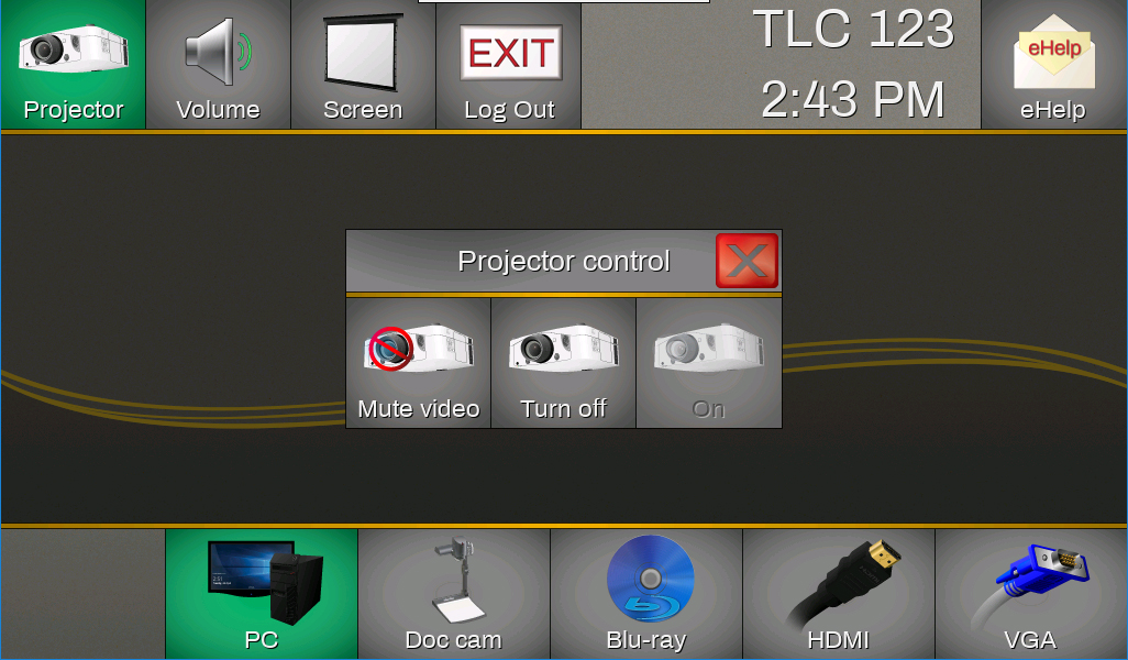 The projector or LCD controls will be displayed automatically.