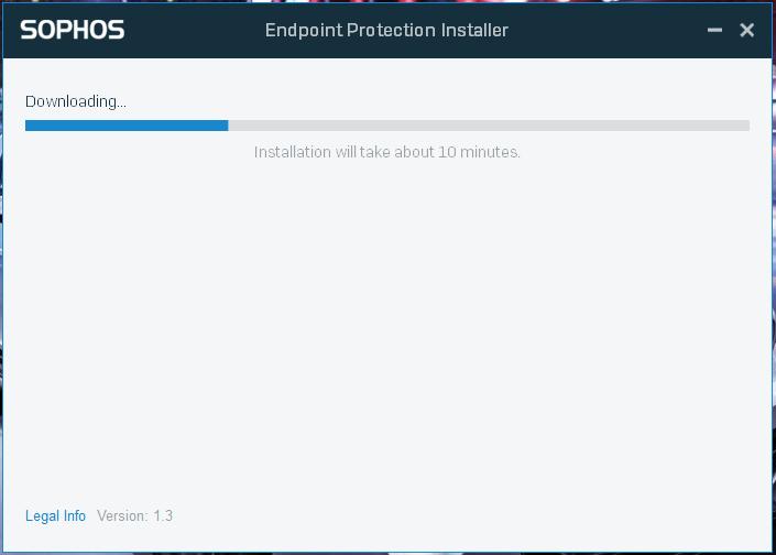 Screenshot of install progress