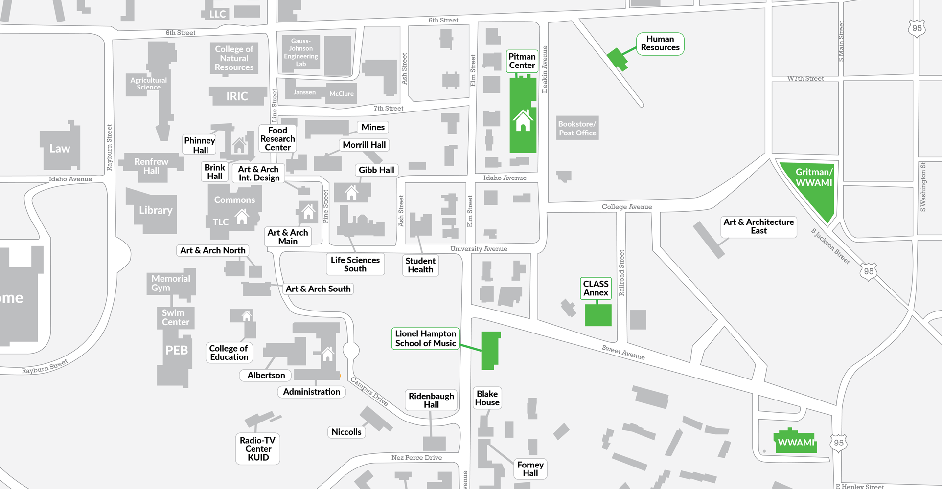 Map of the buildings that fall under TSP Region 4.