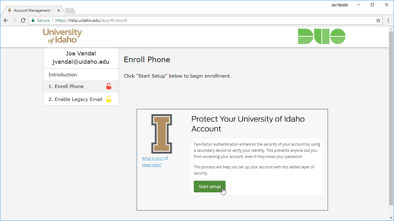 Duo begin enrollment page