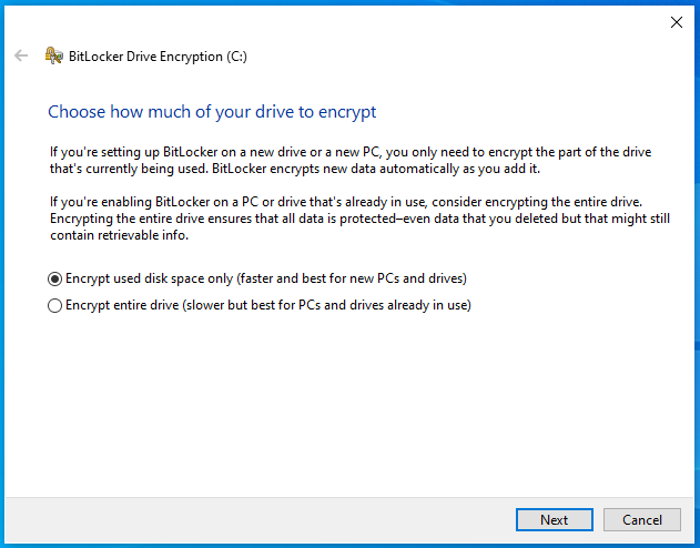How much of the drive should be encrypted