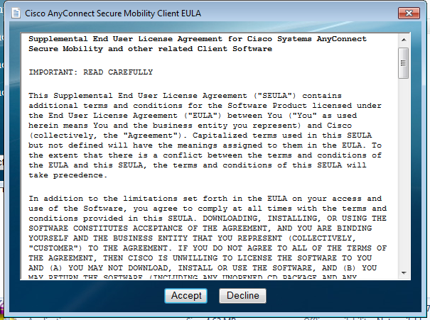 Windows AnyConnect License Agreement