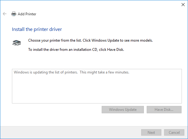 Windows Update can take some time to download drivers for supported printers.