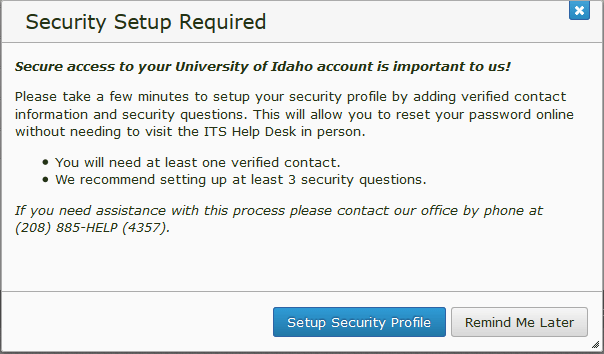 Security (Profile) Setup Required pop-up that appears upon login.