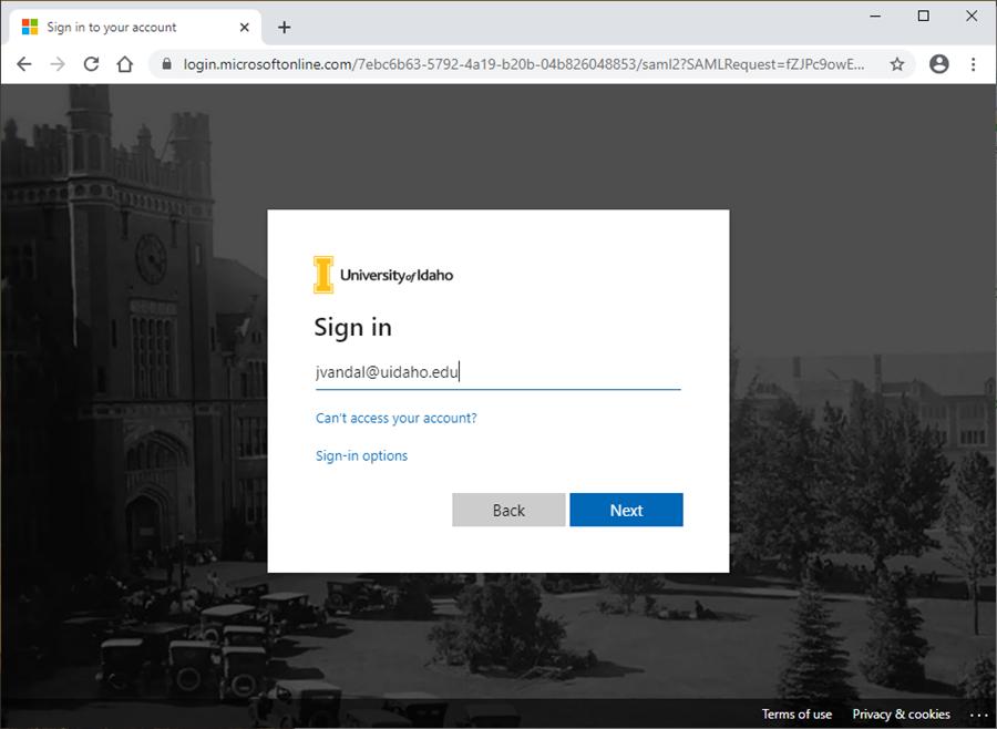 Login page enter username