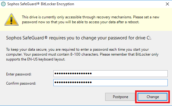 This will be the new passphrase you will use when booting your computer.