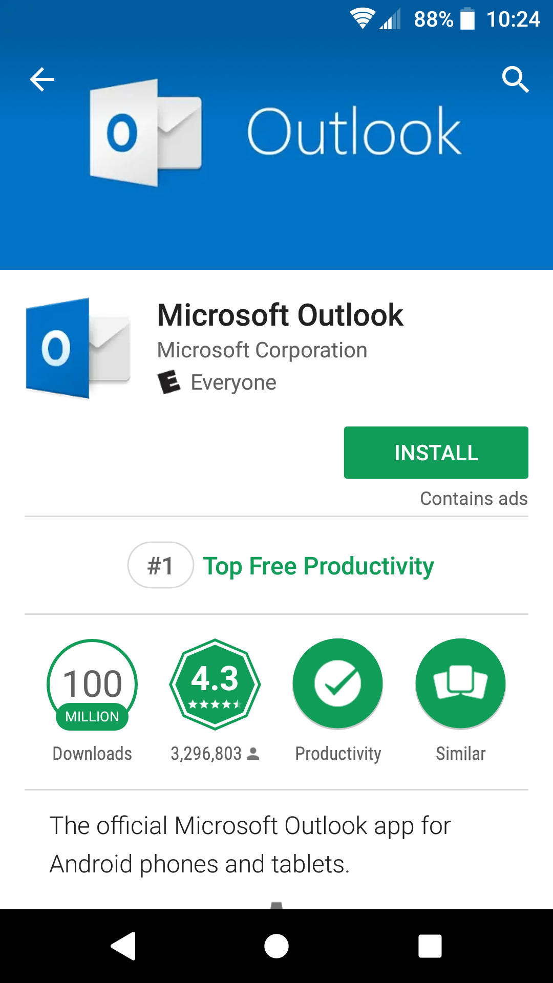 GPlay install Outlook