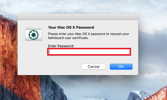 You will be prompted to enter your OS X password.
