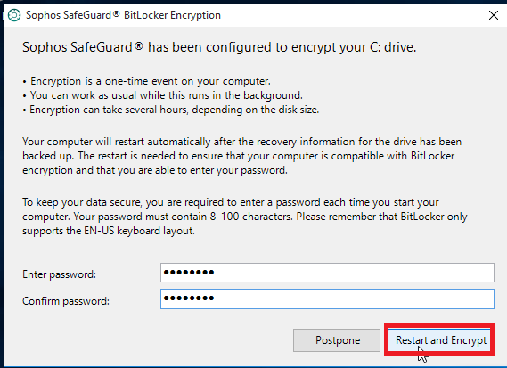 Select restart and encrypt once you have entered your passphrase.