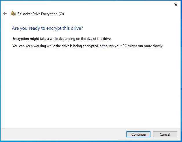 Click continue to encrypt