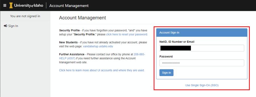 Screenshot of going to help.uidaho.edu log in screen.