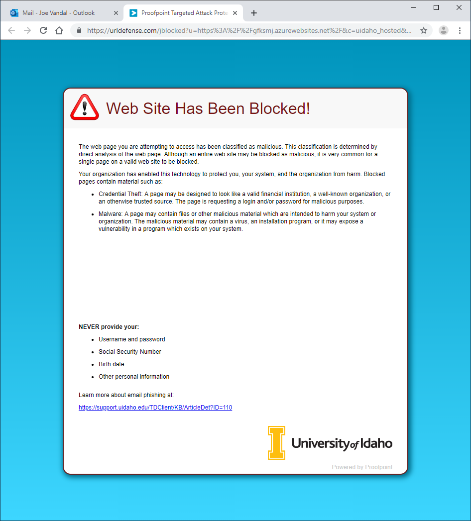 Proofpoint blocked site