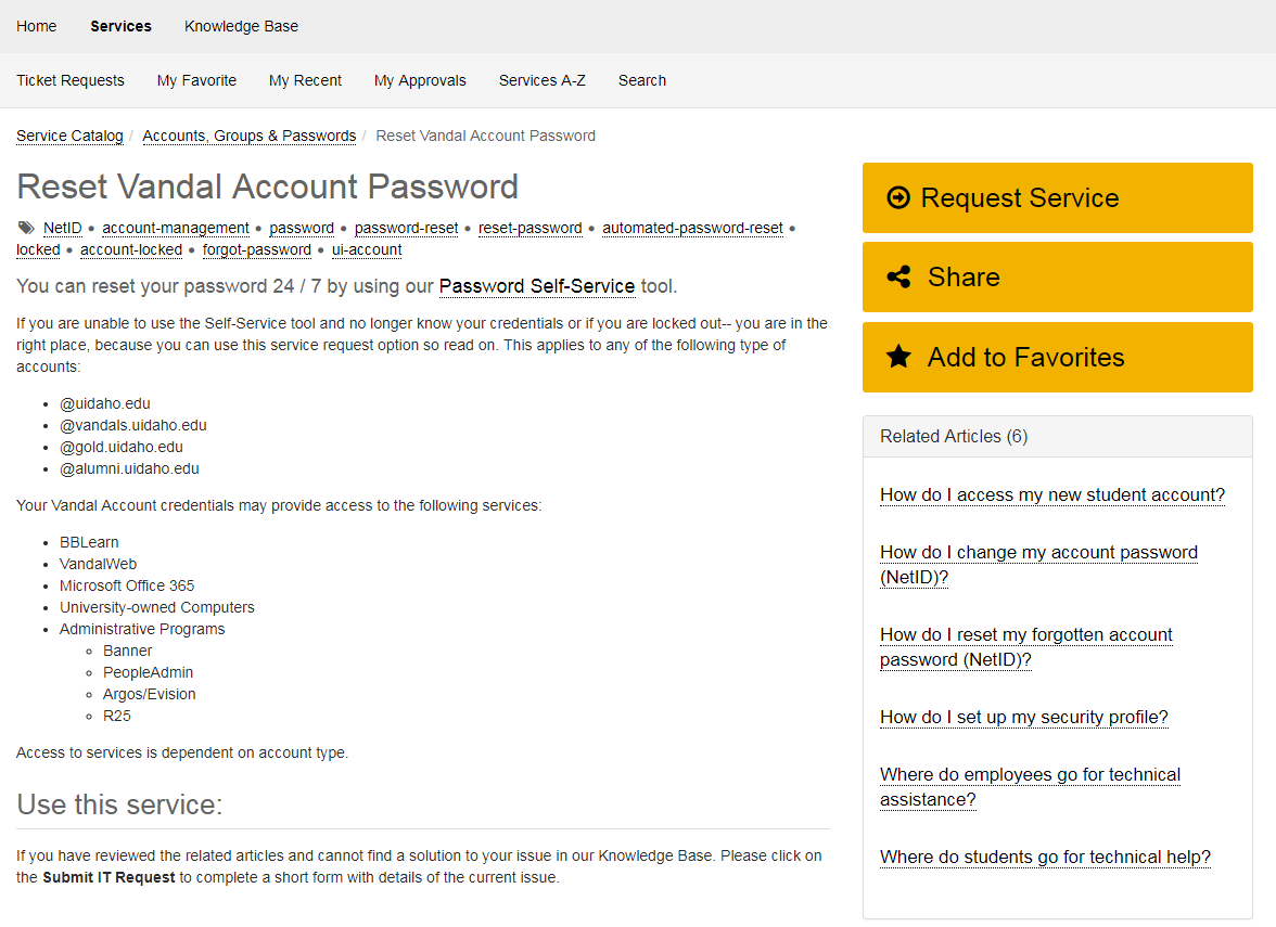 Screenshot of the Reset Vandal Account Password Service page.