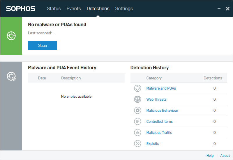 Detections tab screenshot
