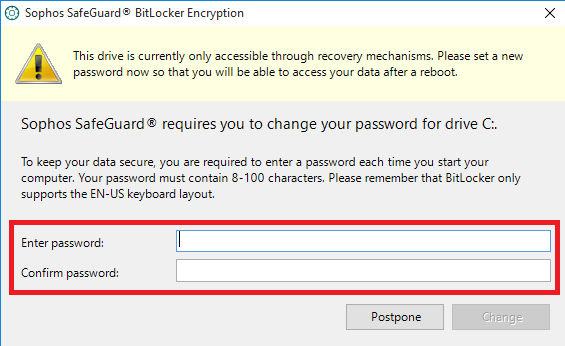 In the resulting dialog box, enter and confirm your new passphrase.