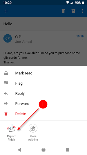 Report message option shown