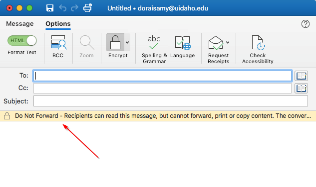 Outlook indicates the message is encrypted