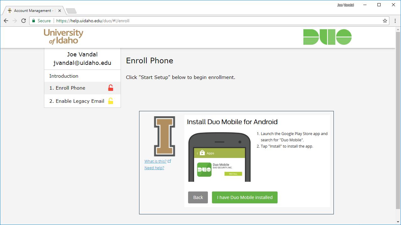 Screenshot of Duo app install prompt.