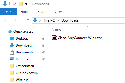 Download and run the Cisco AnyConnect installer.