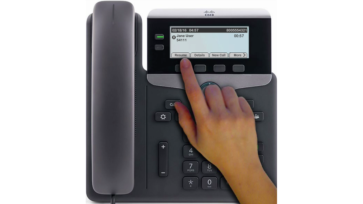 Image of the phone indicating the resume button.