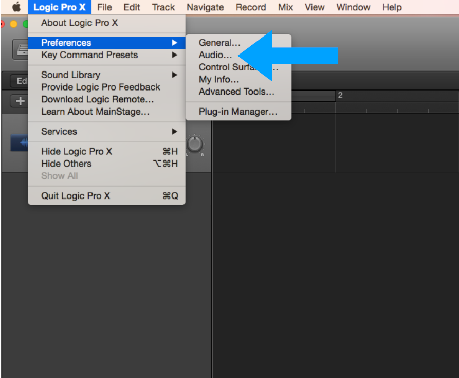 Select Logic X Pro, Preferences, and then Audio