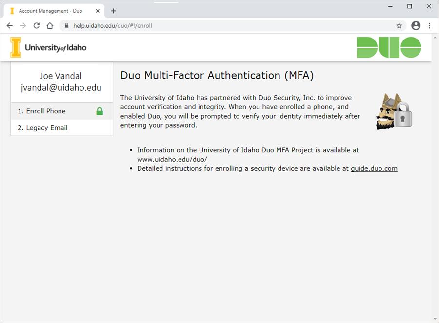 Screenshot of initial Duo enrollment screen