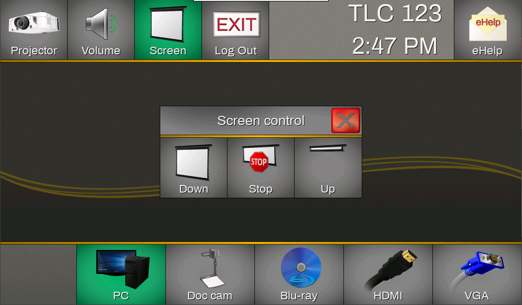 If available, these are the projection screen controls.