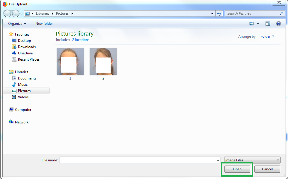 Select your photo and click 'Open'