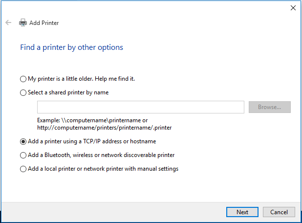 "Check ""Add a printer using a TCP/IP address or hostname."""