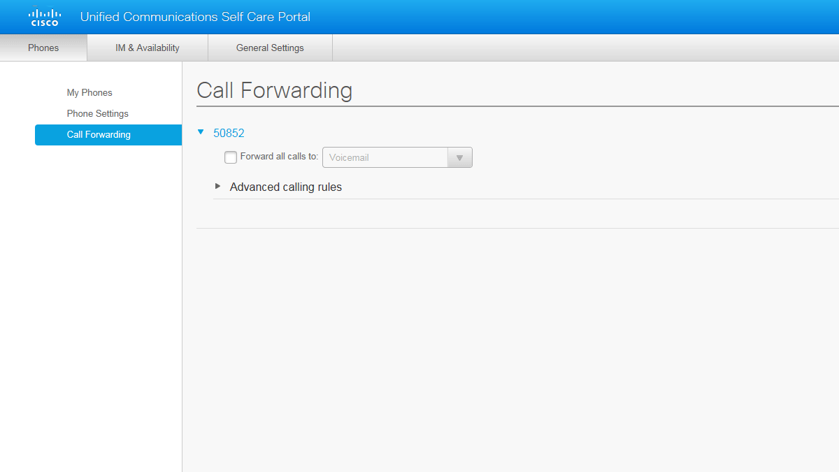 Call Forwarding tab and contents