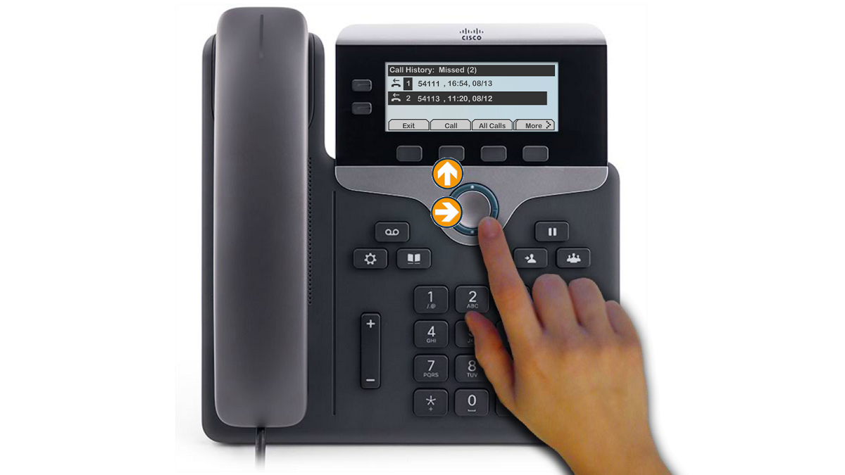 "To dial from Call History, scroll to a call press the ""Select"" button in the Navigation pad, or the ""Call"" softkey."