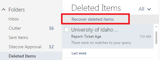 Screenshot showing the Recover deleted items button while in the deleted items folder.