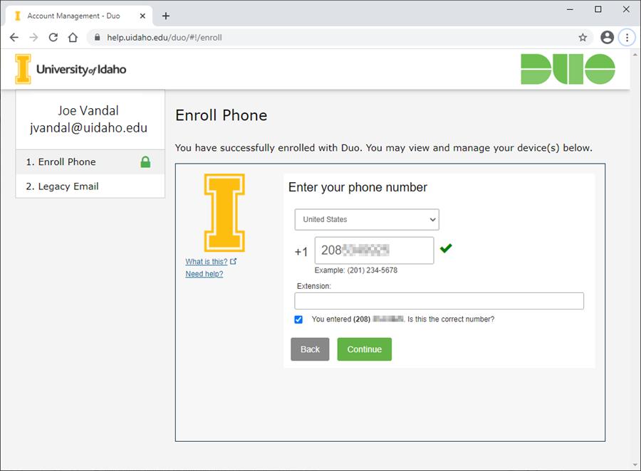 Screenshot of entering landline number