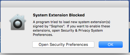 Screenshot of blocked system extension from Sophos