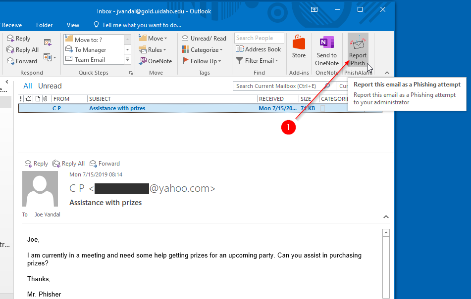 Outlook report phish button